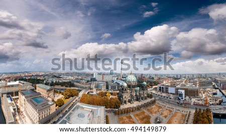 Panoramic aerial view of Berlin Cathedral.