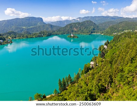 Panoramic aerial view of Bled Lake, Slovenia - stock photo