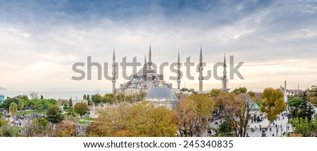 Panoramic aerial view of Blue Mosque area in Istanbul. - stock photo