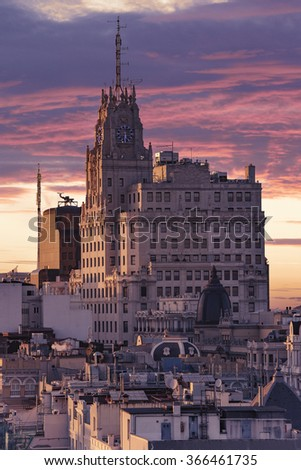 Panoramic aerial view of Madrid, Spain at sunset. - stock photo