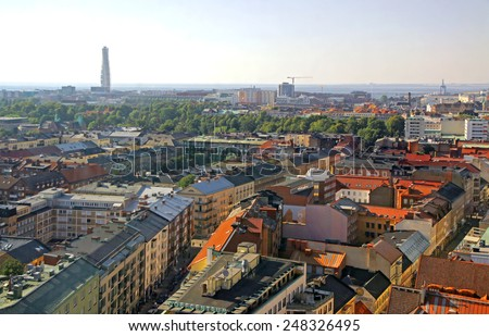 Panoramic aerial view of Malmo city, Sweden - stock photo