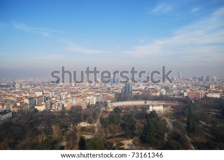 Panoramic aerial view of Milan from Branca tower, Lombardy, Italy - stock photo