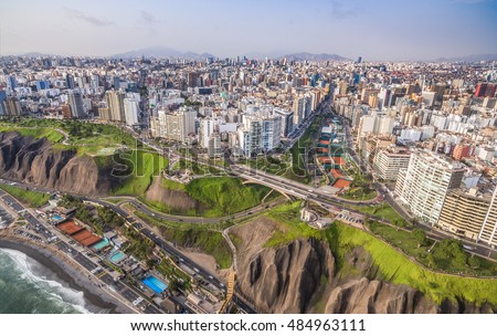 Panoramic aerial view of Miraflores Town and Lima city at back ground.