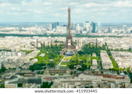 Panoramic aerial view of Paris from Tour Montparnasse. Tilt-shift effect applied - stock photo