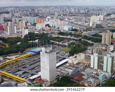 panoramic aerial view of sao paulo from the roof of altino arantes building