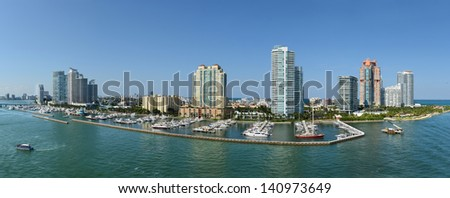 Panoramic aerial view of South Miami Beach during sunny day - Stitched from 5 individual images - stock photo