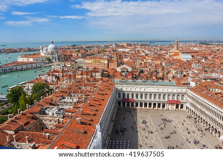 Panoramic aerial view of Venice from San Marco Campanile.