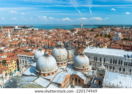 Panoramic aerial view of Venice from St. Mark Campanile bell tower - stock photo