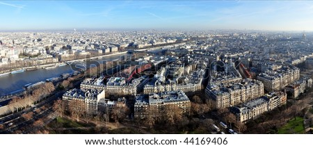 Panoramic aerial view on Paris and Seine, from the Eiffel Tower - stock photo
