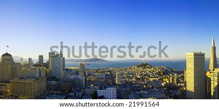 Panoramic aerial view  San Francisco and bay area on sunrise - stock photo