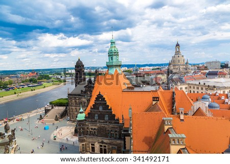 Panoramic and aerial view of  Dresden and Frauenkirche church in summer day