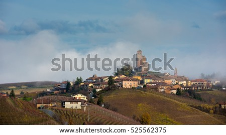 Panoramic autumnal view on the hills of Serralunga d'Alba in the Langhe area of Piedmont, Italy