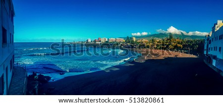 panoramic beach and buildings