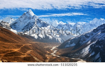 Panoramic beautiful view of mount Ama Dablam with beautiful sky on the way to mount Everest base camp, Khumbu valley, Sagarmatha national park, Everest area, Nepal