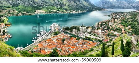 Panoramic bird-eye view of Kotor bay (Boka Kotorska) and Kotor city, Montenegro. HDR filter - stock photo