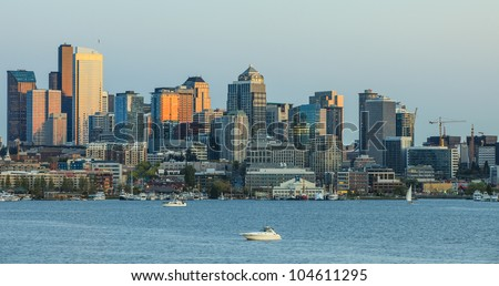 Panoramic city of Seattle - stock photo