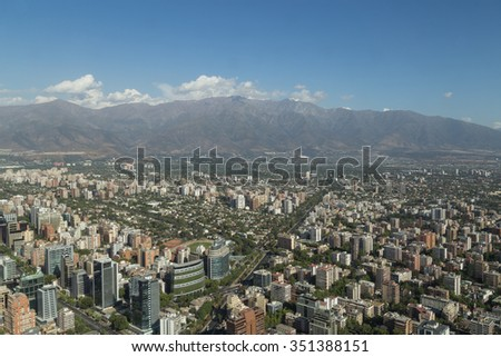 Panoramic city view from the Gran Torre Santiago in Santiago de Chile.