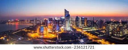 panoramic cityscape  and traffic of hangzhou at night  - stock photo