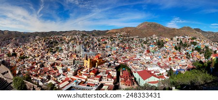Panoramic cityscape of Guanajuato Mexico - stock photo