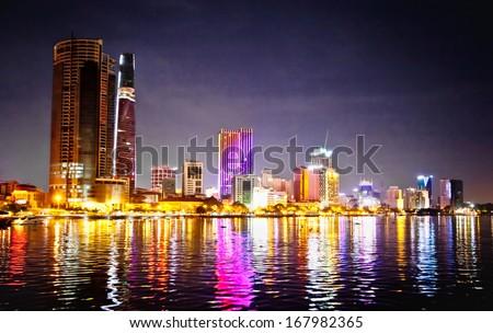 Panoramic cityscape of Ho Chi Minh city or Saigon at night, Vietnam. - stock photo
