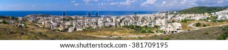 Panoramic cityscape of Rethymnon - Crete, Greece - stock photo