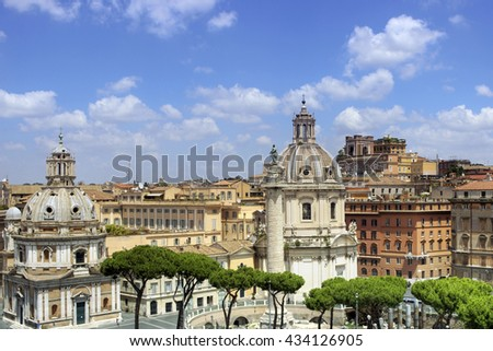 Panoramic cityscape of Rome in a summer day, Italy