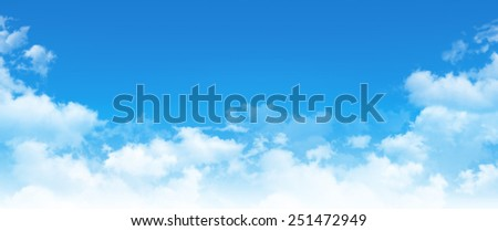Panoramic cloudscape. High resolution blue sky background. White clouds composition in daylight - stock photo