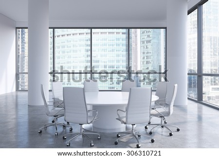 Panoramic conference room in modern office in Moscow, Russia. White chairs and a white round table. 3D rendering. - stock photo