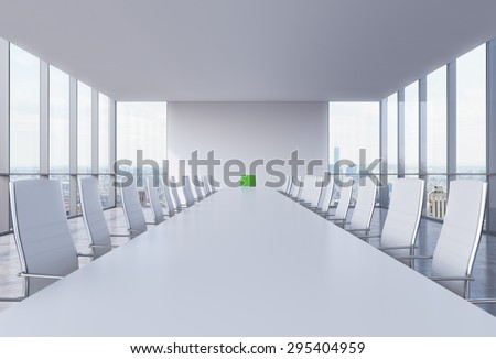 Panoramic conference room in modern office in New York City. White chairs and a white table. A green chair in a head of the table. 3D rendering. - stock photo