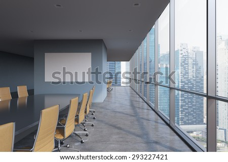 Panoramic conference room in modern office in Singapore. Brown chairs and a black table. 3D rendering.