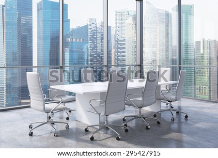 Panoramic corner conference room in modern office, Singaporean financial area view. White chairs and a white table. 3D rendering. - stock photo