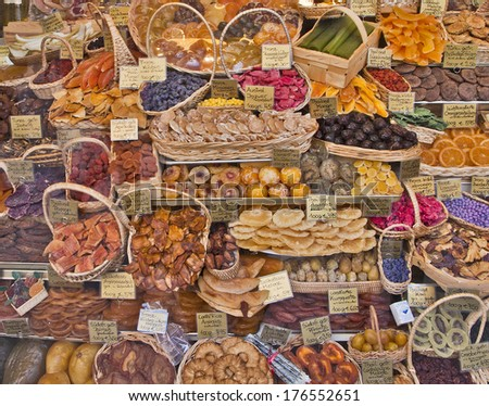 Panoramic display of exotic fruits dried and sugar candied