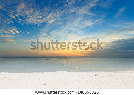Panoramic dramatic sky sea and white sand beach at dawn,Samui island,Thailand - stock photo