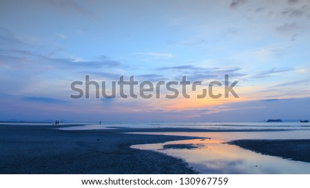 Panoramic dramatic  sunset sky and sea of Thailand - stock photo