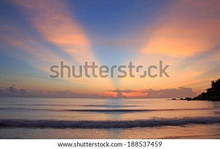 Panoramic dramatic tropical vivid sunset sky and sea image - stock photo