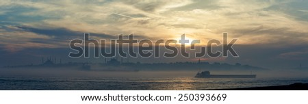 Panoramic foggy Istanbul - stock photo