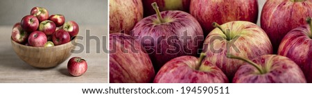 Panoramic Format Collage with Fresh Ripe Apples - stock photo