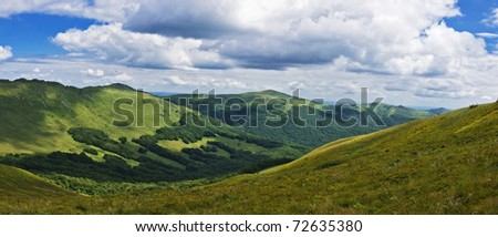 Panoramic green mountain Bieszczady