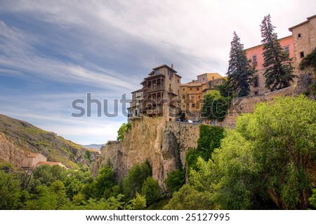 Panoramic Hanging House. A typical image of Spain - stock photo