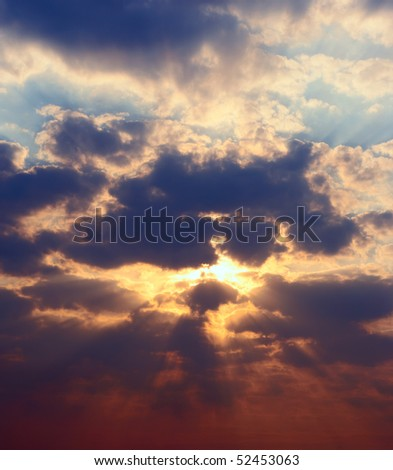 Panoramic high res picture sunset sky - stock photo