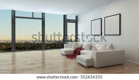 Panoramic High Rise Apartment Interior with View of Sprawling City - Living Room in Luxury Contemporary Condo with White Sectional Sofa, Red Throw Blanket, and Stunning View. 3d Rendering. - stock photo