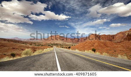 panoramic highway in Capitol Reef National Park - stock photo
