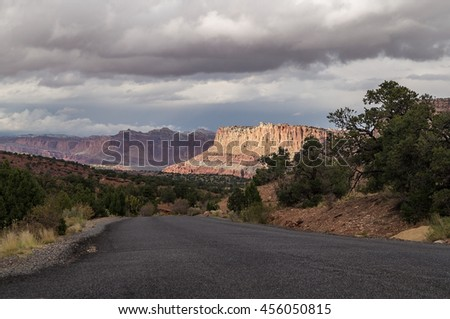 Panoramic highway in Capitol Reef National Park,Utah, Hickman, bridge,