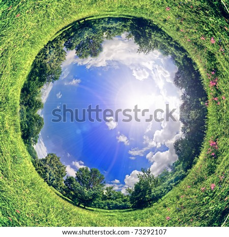 panoramic image looks like planet. Ecology and space concept - stock photo