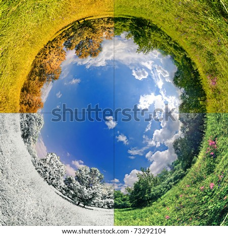panoramic image looks like planet with seasons change. Ecology and space concept - stock photo