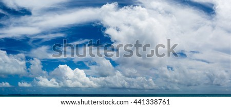 Panoramic Image Maldivian Tropical seascape. Cloudy sky over calm ocean. Beautiful day in Paradise. Summer sky and beautiful beach of Maldives - stock photo