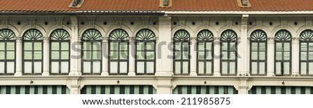 Panoramic image of a row of heritage windows in George Town, Penang, Malaysia - stock photo