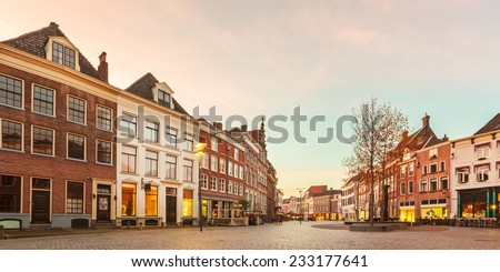 Panoramic image of ancient houses in the historic Dutch city of Zutphen