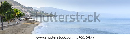 Panoramic image of beach and ocean in Puerto Vallarta, Mexico - stock photo