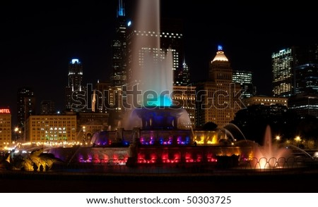 Panoramic image of Buckingham Fountain in Grant Park Chicago. - stock photo
